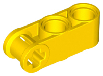 LEGO 42003 Technic, Axle and Pin Connector Perpendicular 3L with 2 Pin Holes. Yellow. Package of 2. New.