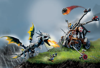 7021-1 Viking Double Catapult vs. the Armoured Ofnir Dragon, 2006, Retired, Preowned, Rare
