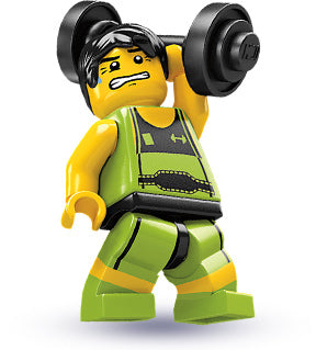 LEGO Collectible Minifigure: col02-10 Weightlifter. Series 2-10 (2010). Like New.