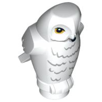 LEGO Animal, Air. 92084pb03 Owl, Angular Features with Black Beak, Yellow Eyes and Light Bluish Gray Rippled Chest Feathers Pattern (HP Hedwig). Preowned.