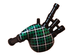 LEGO Minifigure, Utensil: 99252pb01 Bagpipes with Green and White Tartan Pattern. 2012. Preowned.