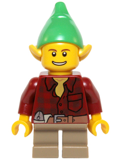 LEGO Holiday Minifig: hol050 Elf-Dark Red Flannel Shirt (2014).