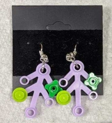Earrings: Lavender Branch, green & lime decorations