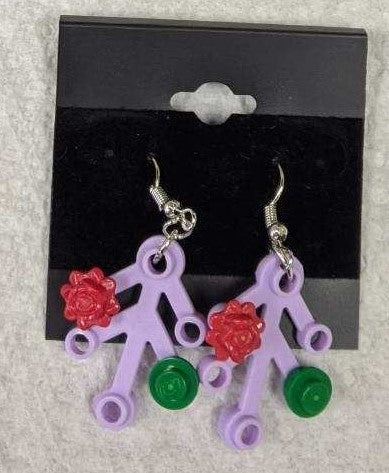 Earrings: Lavender Branch, red & green decorations