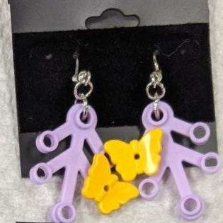 Earrings: Lavender Branch, yellow butterfiles