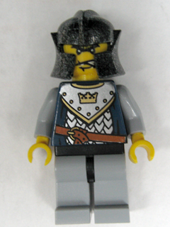 LEGO Castle: Fantasy Era Minifigure: cas436 Crown Knight Scale Mail with Crown, Speckle black-silver helmet, angry eyebrows. Preowned.