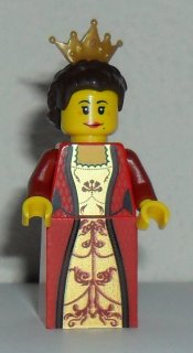 LEGO Castle: Minifigure: Kingdoms: cas504 Queen with Dark Brown Hair. 2012. Preowned.