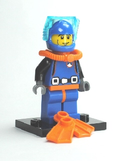 LEGO Collectible Minifigures Series 1: col01-15 Deep Sea Diver with stand. Preowned.