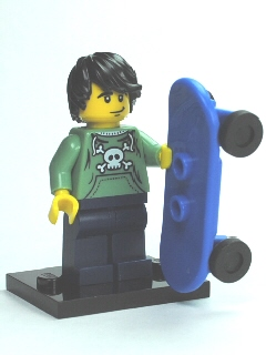 LEGO Collectible Minifigures, Series 1: col01-6 Skater, Series 1. Complete with stand and skateboard.. 2010. Preowned.