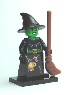 LEGO Collectible Minifigure Series 2: col02-4 Witch Series 2. Complete set with stand and accessory. 2010. Preowned.
