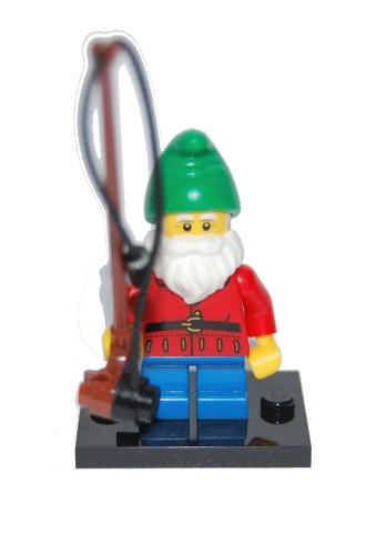 LEGO Collectible Minifigure: col04-1 Lawn Gnome. Series 4. Complete with stand & accessory. 2011. Preowned.