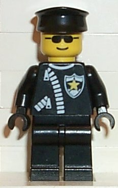 LEGO Classic Town: Police minifigure: cop025 Police - Zipper with Sheriff Star, Black Hat. 2002-3. Preowned.