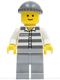 LEGO Police Minifig - cty0028 Jail Prisoner, Prison Stripes, Light Bluish Gray Legs, Dark Bluish Gray Knit Cap