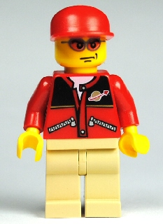 LEGO City Minifigure: cty0129 Red Jacket with Zipper Pockets & Classic Space Logo. 2009/10. Preowned.