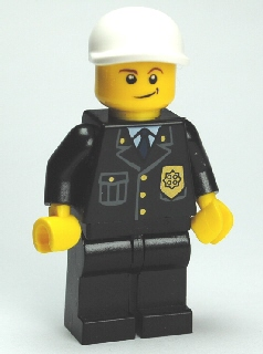 LEGO City Minifigure: cty0199 Police- City Suit with Blue Tie, Gold Badge, white short bill cap. 2011-12. Preowned.