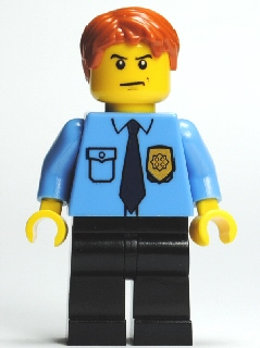 LEGO Minifigs: City: Police: cty0212 Police- City shirt with dark blue tie and gold badge. 2011/12. Preowned.