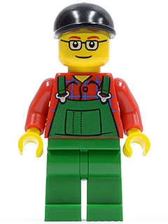 LEGO City: Harbor minifigure: cty0245 Overalls Farmer Green. 2011. Preowned.