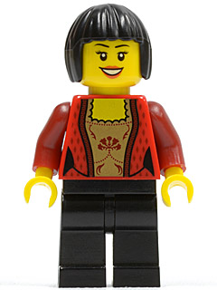 LEGO City minifigure: cty0327 Female Corset with Gold Panel Front and Lace Up Back Pattern, Black Legs, Black Bob Cut Hair. 2012. Preowned.