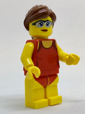 LEGO City Minifigure: cty0759 Beachgoer - Red Female Swimsuit and Light Blue Glasses 2017. Preowned.