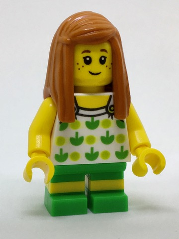 LEGO City minifigure: cty0761Beachgoer - Girl, Top with Apples and Green Legs with Yellow Stripes. 2017. Preowned.