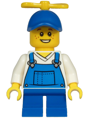 LEGO City Minifigure: cty1214 Boy - Blue Overalls over V-Neck Shirt, Blue Short Legs, Blue Cap with Tiny Yellow Propeller. 2020. Preowned.