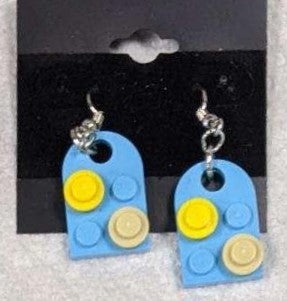 Earrings: Bay Window, light blue with yellow and beige decorations