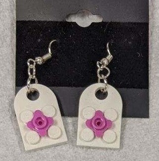 Earrings: Bay Window, light gray with hot pink flowers