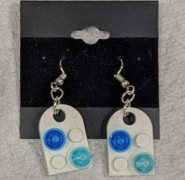 Earrings: Bay Window, white with trans dk blue and trans light blue decorations