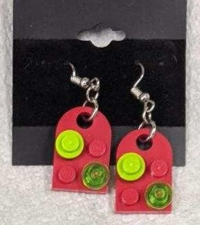 Earrings: Bay Window,  red with lime green and trans green decorations