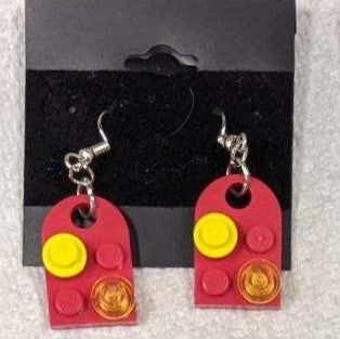 Earrings: Bay Window,  red with yellow and trans yellow decorations