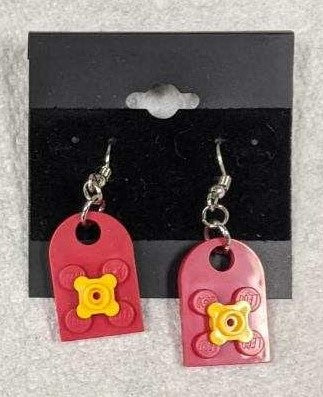 Earrings: Bay Window,  red with yellow flowers