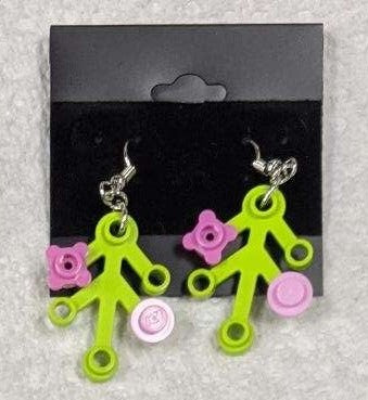 Earrings: Lime Green Branch, dk pink and lt pink decorations