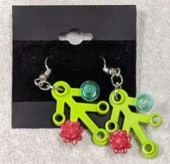 Earrings: Lime Green Branch, red roses, trans light blue decorations