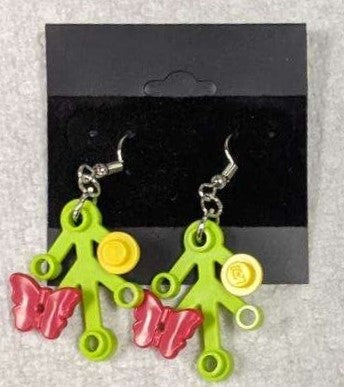 Earrings: Lime Green Branch, red butterflies with yellow decorations