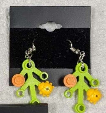 Earrings: Lime Green Branch, yellow ladybugs and orange decorations