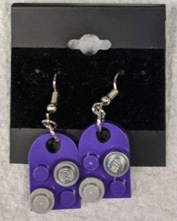 Earrings: Bay Window, purple with gray & metallic silver decorations.
