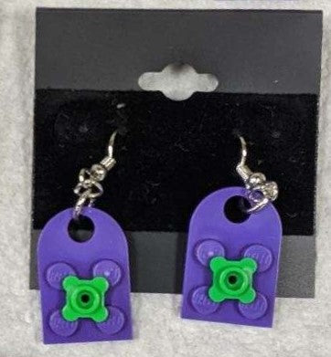 Earrings: Bay Window, purple with green flowers.