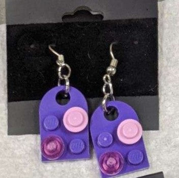 Earrings: Bay Window, purple with pink & trans hot pink decorations.