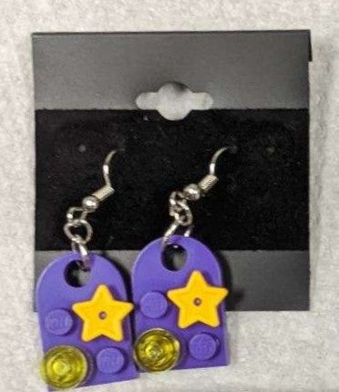 Earrings: Bay Window, purple with yellow stars & trans yellow decorations.