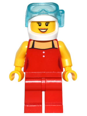 LEGO Minifigs: game010 Red Female Top with 2 white buttons, scuba mask. 2016. New.