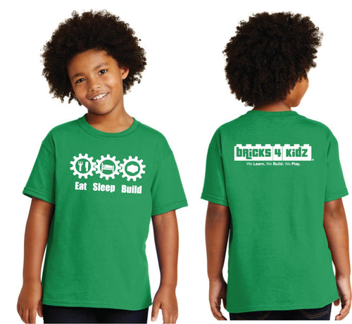 CLEARANCE - Green Short Sleeve Bricks 4 Kidz Eat/Sleep/Build T-Shirt