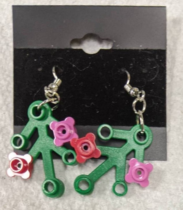 Earrings: Green Branch, hot pink & red flowers