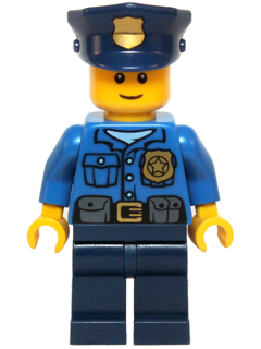 Christmas minifig: hol040 Police-Gold Badge, police hat, smile. 2014. Preowned.