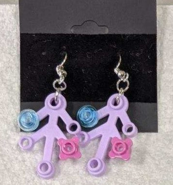 Earrings: Lavender Branch, trans blue & dk pink decorations
