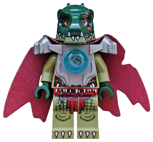 Legends of Chima minifig: loc044 Cragger-Heavy Armor, Cape, 2013, preowned.