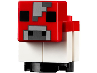 Minecraft: minecow04  Cow, Mooshroom, baby-brick built. Red.
