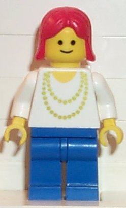 LEGO minifigures: Classic Town: ncklc010 Necklace Gold, Blue Legs, Red Female Hair. 1990. Preowned.