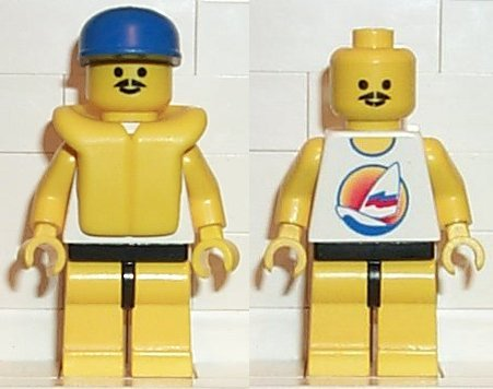 LEGO minifigure: par051 Surfboard on Ocean - Yellow Legs, Blue Cap, Life Jacket. 1996. Preowned.