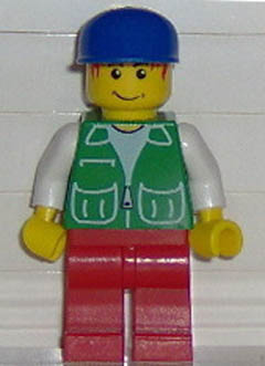 LEGO Town Minifigure: pck024 Jacket Green with 2 Large Pockets,Red Pants, Blue Cap. 2006. Preowned.