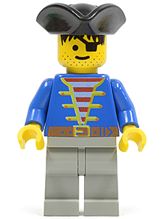 LEGO Pirate Minifigure: pi005 Pirate Blue Jacket, Light Gray Legs, Black Pirate Triangle Hat. Preowned.